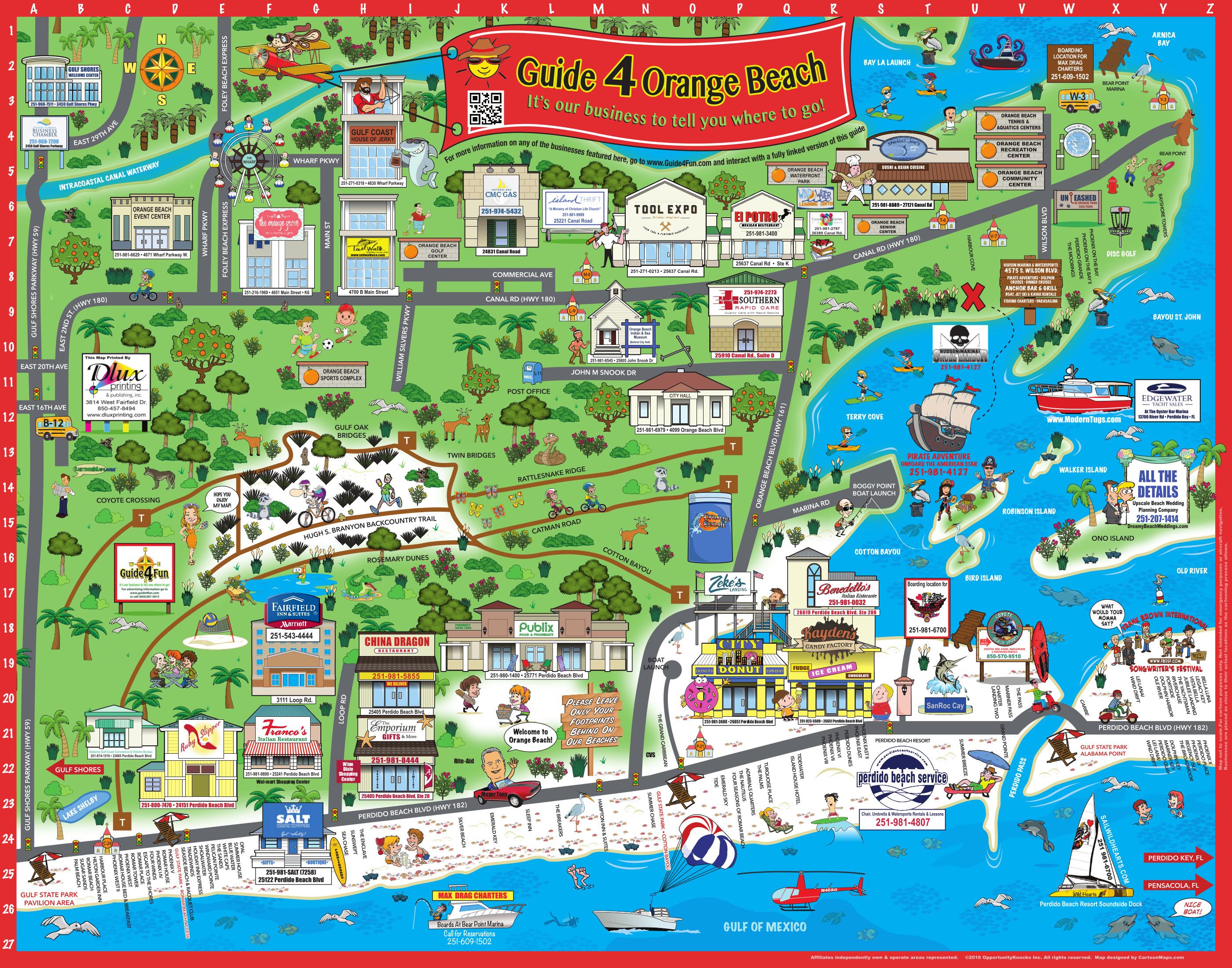 Map Of Orange Beach Al Hotels
